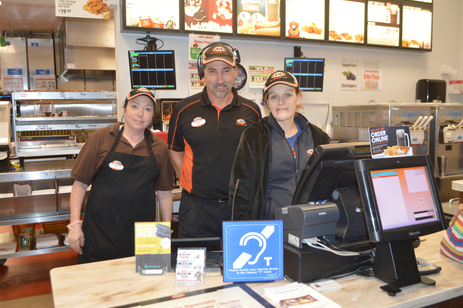 A & W Manager Mike Wang & staff
